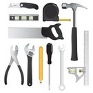 Work Tool,Building Contractor,Hammer,Construction Worker,Tape Measure,Construction Industry,Wrench,Level,Hand Saw,Building - Activity,Pencil,Utility Knife,Scale,Pliers,Carpentry,Vector,Illustrations And Vector Art,Objects/Equipment,Industry,Industrial Objects/Equipment,Vector Icons,Construction