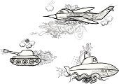 Submarine,Armored Tank,Doodle,Military Airplane,Ornate,Military,Sketch,Vector,Black And White,Ilustration,Set,Vector Cartoons,Contour Drawing,Vector Ornaments,Illustrations And Vector Art,Grunge,Airplane