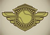 Baseballs,Baseball - Sport,Softball - Ball,Softball,Sign,Retro Revival,Old-fashioned,Sports Team,Ball,Coat Of Arms,Insignia,Badge,Sport,Shield,Artificial Wing,Ideas,Computer Graphic,Label,Art,Design,Ilustration,Lifestyles,Symbol,Concepts,Vector,Single Object,Activity,Style,Athlete,Recreational Pursuit,Equipment,Competitive Sport,Sports League,Green Color