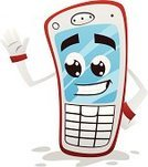Telephone,Mobile Phone,Mobility,Fun,Humor,Animated Cartoon,Characters,Concepts And Ideas,Celebratory Toast,Technology,Illustrations And Vector Art,Red,Technology,Communications Technology,Vector,Vector Cartoons,Communication,Ilustration,Smiling,Global Communications,Waving