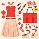 Clothing,Fashion,Skirt,Necklace,Set,Lipstick,Women,Top - Garment,Sandal,Beauty Product,Female,Vector,Red,Design,Earring,Nail Polish,Dress Shoe,Illustrations And Vector Art,High Heels,Youth Culture,Ilustration,Elegance,Perfume,Bracelet,Bag,Style,Modern,Glamour,Beauty And Health,Computer Graphic,Beauty,Backgrounds,Fashion