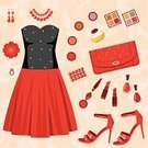Lipstick,Dress,Purse,Women,Clothing,Necklace,Earring,Vector,Bracelet,High Heels,Design,Female,Computer Graphic,Fashion,Bag,Sandal,Set,Perfume,Collection,Nail Polish,Youth Culture,Illustrations And Vector Art,Ilustration,Style,Dress Shoe,Beauty And Health,Fashion,Beauty Product,Modern,Backgrounds,Elegance,Glamour,Beauty