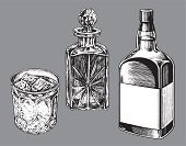 Alcohol,Glass,Drink,Cocktail,Black And White,Pen And Ink,Vector,Addiction,Bottle,Ilustration,Carafe,Social Issues,Collection,Arrangement,Party - Social Event,liquor bottle,Alcoholism,Group of Objects,After Dinner Drink,Celebration,Set,libation,whiskey bottle,Whiskey Glass,Drunk,Copy Space