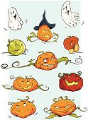 Pumpkin,Halloween,Hat,Witch's Hat,Vector Cartoons,Halloween,Holidays And Celebrations,Illustrations And Vector Art