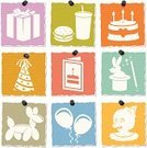 Computer Icon,Symbol,Birthday,Party - Social Event,Child,Balloon Animal,Greeting Card,Fast Food,Icon Set,Textured,Party Hat,Food,Gift,Paper,Cut Or Torn Paper,Textured Effect,Birthday Cake,Balloon,Clown,Parties,Torn,Birthdays,Vector Icons,Remote,Magician,Candle,Cake,Vector,Magic Wand,Illustrations And Vector Art,Isolated,Burger,Holidays And Celebrations,Color Image,Ilustration