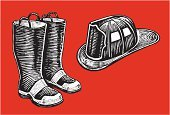 Firefighter,Firefighter's Helmet,Fire Station,Boot,Pen And Ink,Emergency Services,Work Helmet,public service,Black And White,Fire Equipment,Vector,Emergency Services Occupation,Ilustration,Protection,Rescue