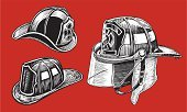 Firefighter's Helmet,Work Helmet,Firefighter,Rescue,Black And White,Fire Station,Emergency Services,Firefighter Shield,Fire Equipment,Group of Objects,public service,Set,Arrangement,Vector,Collection,Emergency Services Occupation,Ilustration,Pen And Ink,Protection