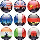 Urban Skyline,Rome - Italy,India,Flag,Germany,American Flag,Circle,Japanese Flag,Italy,Houses Of Parliament - London,UK,Coliseum,USA,German Flag,Icon Set,European Union Flag,Statue of Liberty,French Flag,Famous Place,Japan,Isolated,Design Element,Shiny,City,Eiffel Tower,Tracing,Outline,Chinese Flag,France,Ilustration,British Flag,Italian Flag,New York City,Indian Flag,countries,Taj Mahal,Vector,Cityscape,Marbles,Black Color,Large Group of Objects,Big Ben