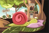 Snail,Sleeping,Animal,Lying Down,Laziness,Cartoon,Ilustration,Vector,Ideas,Concepts,Sloth,Concepts And Ideas,Vector Cartoons,Insects,Character Traits,Illustrations And Vector Art,Animals And Pets