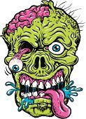 Zombie,Old-fashioned,Human Brain,Halloween,Comic Book,Horror,Furious,Dead,Screaming,Evil,Vector,Bizarre,Line-work,Halloween,Holidays And Celebrations,Illustrations And Vector Art,Undead