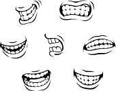 Human Mouth,Smiling,Smiley Face,Human Teeth,Cartoon,Furious,Anger,Displeased,Human Lips,Facial Expression,Human Face,Symbol,Dental Health,Laughing,Emotion,Men,Retro Revival,Depression - Sadness,Design,Sadness,Doodle,Black Color,Healthy Lifestyle,Set,Fun,Humor,Healthy Eating,Vector,Healthcare And Medicine,Human Tongue,People,Caricature,Facial Mask - Beauty Product,White,Cute,Isolated,Surprise,Ilustration,Happiness,Part Of,Design Element,Characters,Crying,Joy,Cheerful