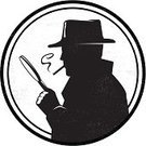 Detective,Mystery,Spy,Surveillance,Silhouette,Back Lit,Secrecy,Inspector,Magnifying Glass,Smoking,Film Noir Style,Cartoon,Ilustration,Quality Control,Examining,Hat,Secret Service Agent,Suspicion,Police Chief,commissar,Black And White,Grunge,Conspiracy,Coat,Paranoia,Vector,Isolated On White