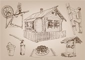House,Wood - Material,Retro Revival,Cottage,Sketch,Well,Old-fashioned,Bucket,Hut,Innovation,Old,Doodle,Fence,Men,Hatchet,Ladder,Russia,Axe,Isolated,Vector Backgrounds,Craft,Isolated-Background Objects,Vector,Isolated Objects,Mansion,Half-Timbered,Architecture,distaff,Computer Graphic,Architecture And Buildings,Loaf of Bread,Image,Design,Homes,Illustrations And Vector Art,Male,Ilustration,Cultures