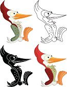 Woodpecker,Silhouette,Animal,Black Color,White,Feather,Cheerful,Bird,Birds,Wildlife,Animals And Pets,Ilustration,Cartoon,Cute,Animal's Crest,Wing,Mascot,Vector,Claw,Beak,Nature,Animals In The Wild,Drawing - Art Product,Illustrations And Vector Art,Sharp,Spotted,Smiling,Fun,Multi Colored,Red,Vector Cartoons