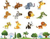 Animal,Kangaroo,Zoo,Tropical Rainforest,Deer,Lion - Feline,Cute,Ilustration,Humor,Collection,Alligator,Computer Graphic,Vector,Crocodile,Giraffe,Nature,Bear,Zebra,Horse,Forest,Elephant,Grass,Wildlife,Tree
