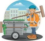 Garbage Truck,Cartoon,Cleaning,Sweeping,Street,Broom,Reflective Clothing,City,Urban Scene,Street Sweeper,Men,Male,Building Exterior,Occupation,Work Boot,Industry,People,Recycling,Environment,Built Structure,Illustrations And Vector Art,Vector Cartoons,Manual Worker,Cap,Smiling,Working,Job - Religious Figure