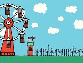 Amusement Park,Waiting In Line,Waiting,Ferris Wheel,Recreational Pursuit,Long,Old-fashioned,Illustrations And Vector Art,Vector Backgrounds,Amusement Park Ride,Traveling Carnival,Sky,Cartoon,Actions,Vector Cartoons,Retro Revival,Leisure Activity,Riding,Pen And Marker,Fun