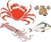 Prepared Crab,Escargot,Gourmet,Ilustration,Squid,Healthy Eating,Sea Life,Illustrations And Vector Art,Food And Drink,Food,Elegance,Vector,Red,Drawing - Art Product,Set,Animals And Pets,Sea Life,Snail,Fish,Purple,Blue,Animal Shell,Exoticism