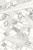 Maze,Staircase,Steps,Complexity,Confusion,Three Dimensional,Chaos,People,Architecture,Lost,Running,Organization,Cartoon,Ladder,Business,Steep,Terrified,Pursuit - Concept,People,The Human Body,Deep,Messy,Architecture And Buildings,Drawing - Art Product,Hand-drawn,Ilustration,Searching,Business Symbols/Metaphors