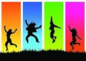 Dancing,Silhouette,Jumping,Dancer,People,Teenager,Color Image,Vector,Outline,Funky,Fun,Multi Colored,Group Of People,Young Adult,Youth Culture,Four People,Arms Raised,Ilustration,Cut Out