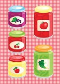 Food,Glass - Material,Label,Preserves,Domestic Kitchen,Winter,Autumn,Cucumber,Apple - Fruit,Fruit,Vegetable,Tablecloth,Cherry,Dessert,Berry Fruit,Backgrounds,Red,Orange Color,Homemade,Salt,Sweet Food,Container,Tomato,Marmalade,Lid,Color Image,Pickled,dainties