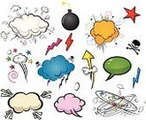 Comic Book,Cartoon,Humor,Exploding,Speech Bubble,Bubble,Arrow Symbol,Balloon,Speech,Anger,Symbol,Sign,Discussion,Banner,Placard,Message,Cloud - Sky,Blank,Copy Space,Design Element,Empty,Arts And Entertainment,Thinking,Set,Label,Icon Set,Communication,Illustrations And Vector Art