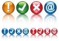 Agreement,E-Mail,Accessibility,Interface Icons,Check Mark,Symbol,Cross Shape,Computer Icon,Mistake,Exclamation Point,Authority,White Background,Security System,Circle,Yes - Single Word,Warning Sign,Warning Symbol,Shiny,Red,No,Yellow,Design Element,Vector,Rejection,Set,Green Color,Internet,'at' Symbol,Security,Quality Control,Icon Set,Ilustration,Isolated On White,Isolated,Collection