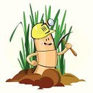 Digging,Worm,Pick Axe,Dirt,Animal,Miner,Cheerful,Small,Baby Animals,Vector Cartoons,Happiness,Animals And Pets,Work Helmet,Grass,Illustrations And Vector Art,Construction,Industry,Vector,Cartoon,Smiling,Cute,Success