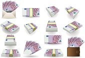 Paper Currency,Currency,Euro Symbol,European Union Currency,Bribing,Portfolio,Number 5,Isometric,Isolated On White,Change Purse,White Background,Vector,Modern,Europe,five hundred,Number 500,Architecture,Finance,European Union Flag,Business,Envelope