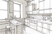 Domestic Kitchen,Window,Indoors,Home Interior,Granite,House,Drawing - Art Product,Wood - Material,Architecture,Pencil Drawing,Wall,Surrounding Wall,Ilustration,Residential Structure,Flooring,Elegance,Modern,Design,Chair,Decoration,Glass - Material,Equipment,Sink,Table,Furniture,Black Color,Stainless Steel,Steel,Lighting Equipment,Built Structure,Arts And Entertainment,Appliance,Illuminated,Light - Natural Phenomenon,Mansion,Lifestyles,Illustrations And Vector Art,Decor,Styles,Architecture And Buildings,Style,Brazier,Crockery,Oven,Clean,Shadow,Tile,Metal,Horizontal,Construction Industry,Comfortable,Decorating,Image
