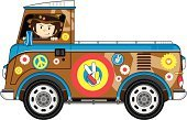 Van - Vehicle,Mini Van,Hippie,Funky,Single Flower,Cartoon,Bus,1960s Style,Light Goods Vehicle,Serene People,People Traveling,Pick-up Truck,Symbols Of Peace,Travel,Long Hair,Mode of Transport,Transportation,Illustrations And Vector Art,Transportation,Wheel,Bumper,Hat,Ilustration,Peace Symbol,Beatnik,Isolated,Vector Cartoons,Youth Culture,Badge,Land Vehicle,People,Brown Hair,Motor Home,Side-View Mirror,Vector