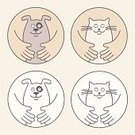Dog,Domestic Cat,Embracing,Pets,Human Hand,Animal,Love,Veterinary Medicine,Happiness,Cheerful,Holding,Keeping,Dogs,Care,Animals And Pets,Smiling,Cats,Illustrations And Vector Art,Canine,Friendship