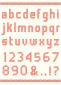 Cross-Stitch,Alphabet,Embroidery,Needlecraft Product,Stitch,Text,Typescript,fancywork,Number,Capital Letter,Set,Drop Cap,Illustrations And Vector Art,lowercase,Design Element,Collection,White,Red