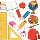 Cartoon,Group of Objects,Back to School,Pencil,Ruler,Set,Education,Apple - Fruit,Eraser,Red,Ilustration,Vector,Textbook,Square,Desktop Globe,Collection,Paint,Education,Objects/Equipment,Globe - Man Made Object,Magnifying Glass,White,Earth,White Background,Colors,Backpack,Palette,Triangle,Paintbrush,Illustrations And Vector Art,Design Element,Backgrounds,World Map,Isolated,Industry,Book,Planet - Space,Sphere,Scissors