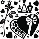 Chocolate Candy,Candy,Silhouette,Box - Container,Computer Icon,Rose - Flower,Perfume,Valentine's Day - Holiday,Black And White,Gift,Symbol,Bud,Clip Art,Set,Bottle,Boyfriend,Food And Drink,Holidays And Celebrations,Romance,Love,Black Color,Vector,Stencil,Heart Shape,Illustrations And Vector Art,Girlfriend,Dating,Ilustration,Valentine's Day,Valentine's Day,Icon Set,Design Element,Vector Icons