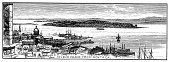 St. Lawrence River,Old-fashioned,Landscaped,Retro Revival,Engraved Image,Ilustration,River,Engraving,Cityscape,Ottawa River,Ship,Water's Edge,Idyllic,Riverbank,Beach,Famous Place,Transportation,Nature,Black And White,North America,American Culture,Nautical Vessel,District,Travel Locations,Image Created 19th Century,Built Structure,City,Isolated On White,Island,The Americas,USA,Canada,Isalnd Of Montreal,Nature,19th Century Style,Urban Scene,Antique,Coastline,Town,Harbor,Montreal