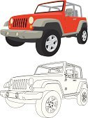 Jeep,Off-Road Vehicle,4x4,Car,Jeep Grand Cherokee,Sports Utility Vehicle,Cartoon,Truck,Vector,Outline,Land Vehicle,Red,Front View,Ilustration,Tire,Isolated,Drive,White,Grille,Travel,White Background,Design Element,Isolated On White,No People,Transportation,Illustrations And Vector Art,Isolated Objects,Heavy