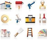 Home Improvement,Toolbox,Symbol,Vector,Paint Spray Gun,Adhesive Tape,Paint Can,Paint Roller,Paintbrush,Icon Set,House,Caulk Gun,Home Decorating,Color Swatch,Painting,Ladder,Putty Knife,House Painter