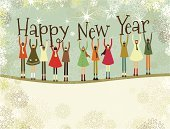 New Year's Eve,Christmas,Holiday,Retro Revival,Child,Backgrounds,Greeting Card,Old-fashioned,Cheerful,Celebration,Multi-Ethnic Group,Joy,Community,Text,Little Girls,Snow,Unity,Vector,Typescript,African Descent,Little Boys,Holiday Backgrounds,Chinese Ethnicity,Togetherness,Christmas,Horizontal,Holidays And Celebrations,Caucasian Ethnicity,Indian Ethnicity,Copy Space,New Year's,Design