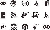Physical Impairment,Symbol,Computer Icon,Eyesight,Blind,Hearing Aid,Icon Set,Senior Adult,Loss,Cane,Global Communications,Senior Men,Braille,Megaphone,Binoculars,Vector,Seeing Eye Dog,Wireless Technology,Telephone,Wheelchair,Aging Process,Illustrations And Vector Art,Clip Art,Assistance,Beauty And Health,Interface Icons,Ilustration,Doorway,Health Symbols/Metaphors,Black And White,Bus,Geriatrics,Wheelchair Access,Vector Icons,Deafness