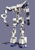 Robot,Vector,Heavy,Painted Image,Ilustration,Suit of Armor,Electricity,Manga Style,People,sf,Metal,Blue,White,Amusement Arcade,Cartoon,Black Color,Gray,Hole,Video Game,Machinery,Circle,Fantasy,Machine Part,Standing,Strength,Power,Comic Book