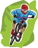 Mountain Bike,Footpath,Cycling,Moving Down,Sports Helmet,Athlete,Sport,Recreational Pursuit,Sports And Fitness,Excitement,Action,One Person,Fun,Wheel,Extreme Sports,Competition,Endurance,Ilustration,Outdoors,Mountain,Event,Competition,Speed,Extreme Sports,Cycling Helmet,Relaxation Exercise,Men,Vector,Jumping