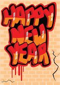 Graffiti,Wall,Happiness,Letter,Text,Holiday,Illustrations And Vector Art,New Year,Year,Greeting,Message,Cracked