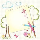 Backgrounds,Child,Education,School Building,Drawing - Activity,Drawing - Art Product,Pencil Drawing,Tree,Ilustration,Paper,Flower,Single Flower,Sketch,Butterfly - Insect,Pink Color,Red,Nature Backgrounds,Lifestyle,Back to School,Illustrations And Vector Art,Ladybug,Babies And Children,Striped,Blue,Multi Colored,Book,Cloud - Sky,Letter,Note,Floral Pattern,Nature,Vector Backgrounds,Green Color