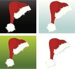 Christmas,Santa Hat,Hat,Design Element,Vector,Blue,Ilustration,Fur,Red,Black Color,Green Color,Headwear,Four Objects,No People,Set,Costume,Holiday,Traditional Clothing,Square