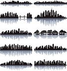Cityscape,Urban Skyline,Silhouette,Ilustration,Back Lit,Computer Graphic,Built Structure,Urban Scene,Skyscraper,City,Vector,Building Exterior,Black Color,Architecture And Buildings,Office Buildings,Architectural Detail,Architecture Backgrounds,Isolated On White,Digitally Generated Image,No People,Outline,Architecture,Horizontal,Reflection
