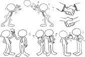 Organized Group,Sketch,Handshake,Blank Expression,Organization,Characters,Businessman,Greeting,High-Five,Business,Cooperation,Teamwork,Black And White,Design,Gesturing,Friendship,Togetherness,Manager,Cartoon,Pencil,Cheerful,Ink,Happiness,Occupation,Stability,free hand,Clip Art,Drawing - Art Product,Bossy,Success,Manual Worker