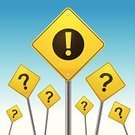 Road Sign,Question Mark,Metal,Colors,Ideas,Square,Illustrations And Vector Art,Concepts And Ideas,Yellow,Problems,No People,Vector,Color Image,Exclamation Point,Solution,Concepts