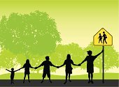 Child,Holding Hands,Silhouette,Safety,Teamwork,School Children,School Crossing Sign,Education,state school,Ilustration,Backgrounds,In A Row,Unity,Vector,Copy Space,Student,school zone,Warning Sign,Crosswalk