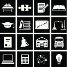 Symbol,Education,School,Desk,Library,Building - Activity,Icon Set,Vector,Jigsaw Piece,Bus,Bell,Expertise,Back to School,White,Book,Topics,Ilustration,Diploma,Document,Computer,school board,Vector Icons,Pencil,Molecule,University,Pattern,Teaching,Textbook,Set,Atom,Illustrations And Vector Art,Cap,Science,Connection,Chemistry,Calculator,Black Color